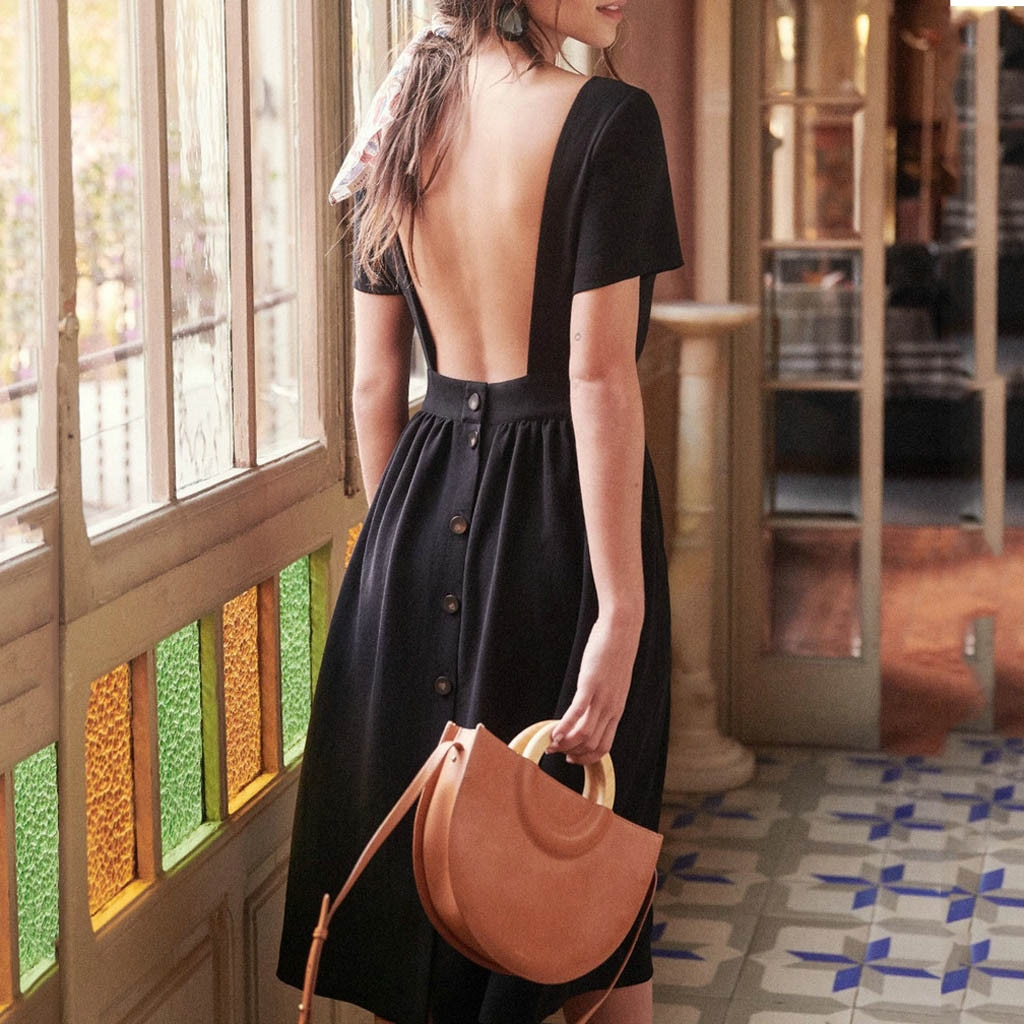 Платье женское, черное, белое, с открытой спинкой, повседневное, сексуальное