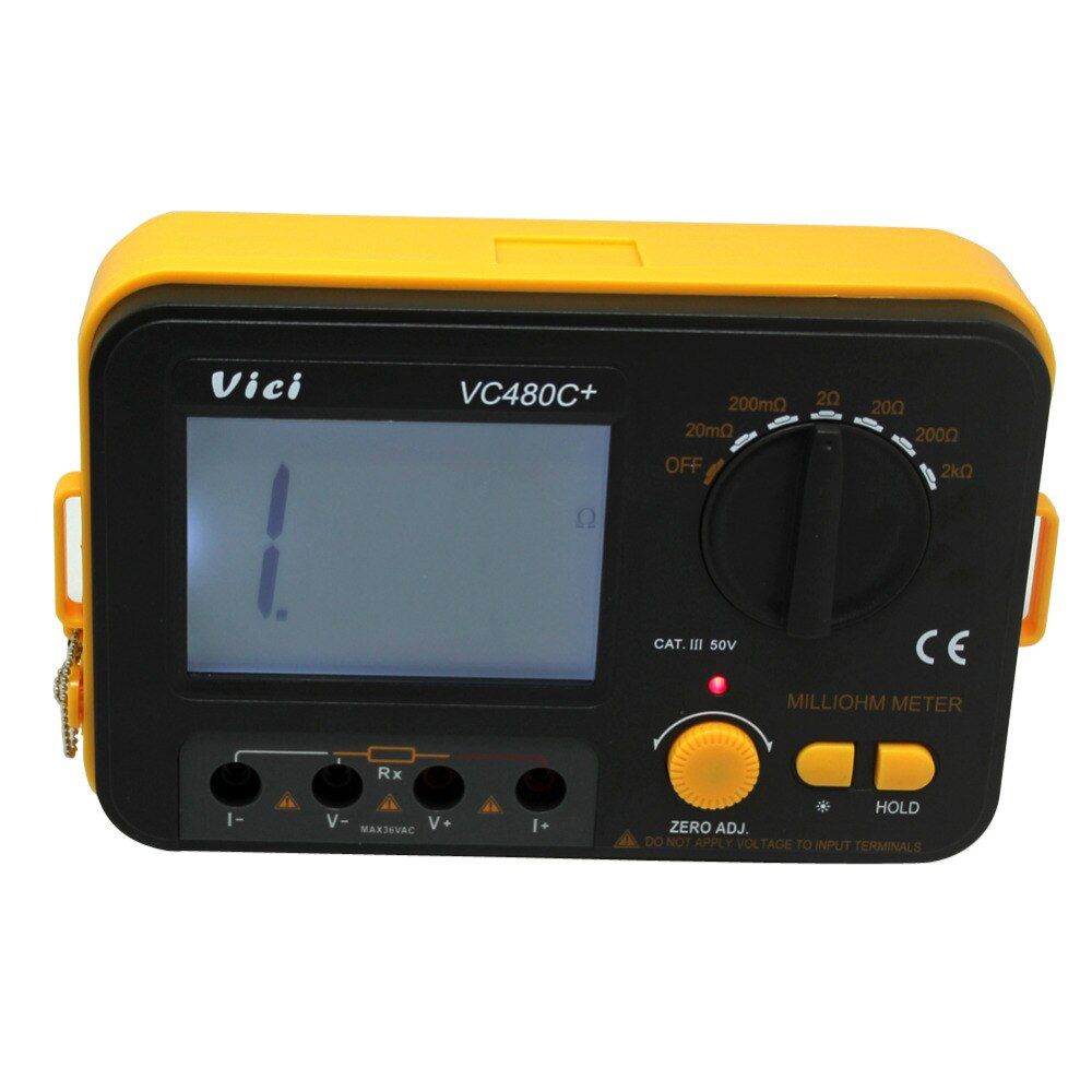 AideTek nuevo VC480C medidores de precisión de miliohmios vs Megger 4 alambre clip kelvin 0 ajustar grande LCDVC480C