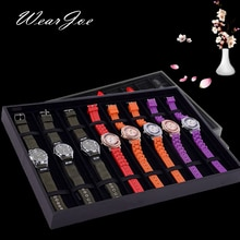 Portable Black/Gray Wrist Watch Storage Packaging Flat Tray 8 Compartment Grid Box Velvet Interior Watch Showcase Stand Holder