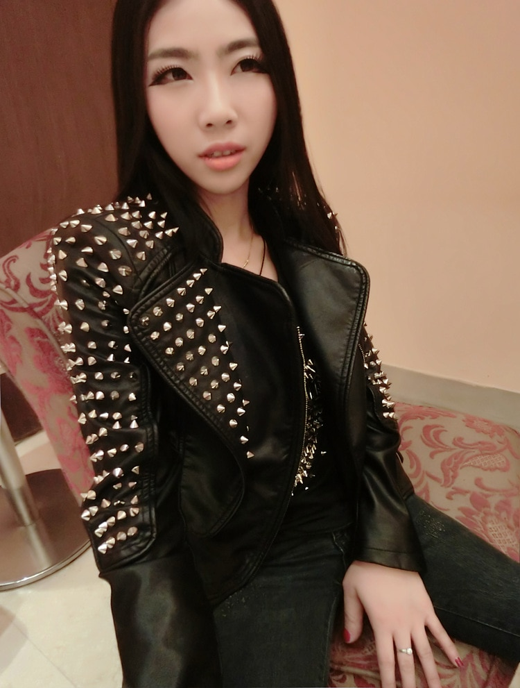 Casaco Feminino Kim Fashion Leather Jacket Spikes Stars Slim Bi-metal Silver Rivet metallic jacket Pu Leather Coats Women enlarge