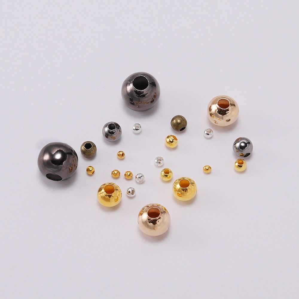 Металлические шарики, гладкие круглые разделители, 100 шт., 3, 4, 5, 6, 8, 10 мм, бисер для самостоятельного изготовления ювелирных изделий, браслето...