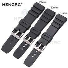 HENGRC резиновые Ремешки для наручных часов 18 20 22 мм Мужские спортивные силиконовые часы для дайвинга ремешок с серебряной стальной металличе...
