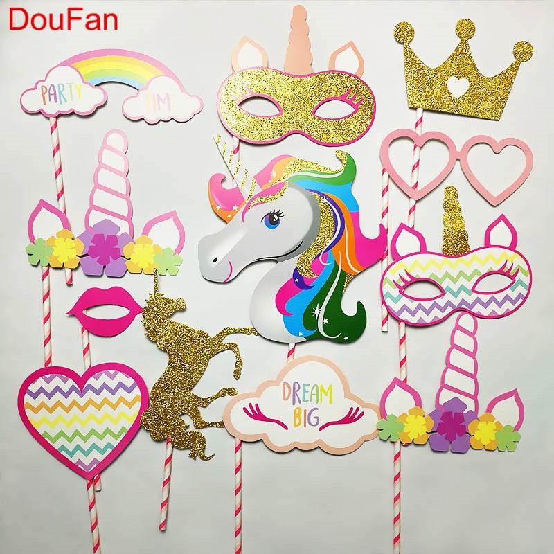 DouFan 1Set Photobooth Props Baby Shower Wedding Birthday Hen Party Supplies Graduation Decoration Unicorn Flamingo Pineapple