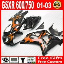Kit de bagues de carpette pour carrosserie   De haute qualité pour carrosserie 2001 2002 2003 orange noir, SUZUKI GSXR 600 K1 # UNP GSX R600 R750 01-03