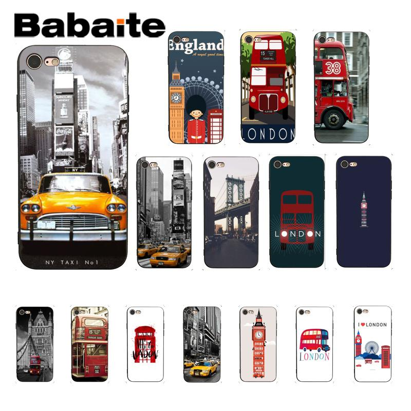Babaite autobús de Londres Inglaterra teléfono británico vintage negro suave de TPU teléfono funda para iPhone 8 7 6 6S Plus X XS X MAX 5 5S SE XR 10