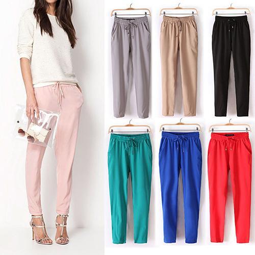 woman pants Newest Women's Casual Solid Color Drawstring Elastic Waist Chiffon Trousers Harem Pants