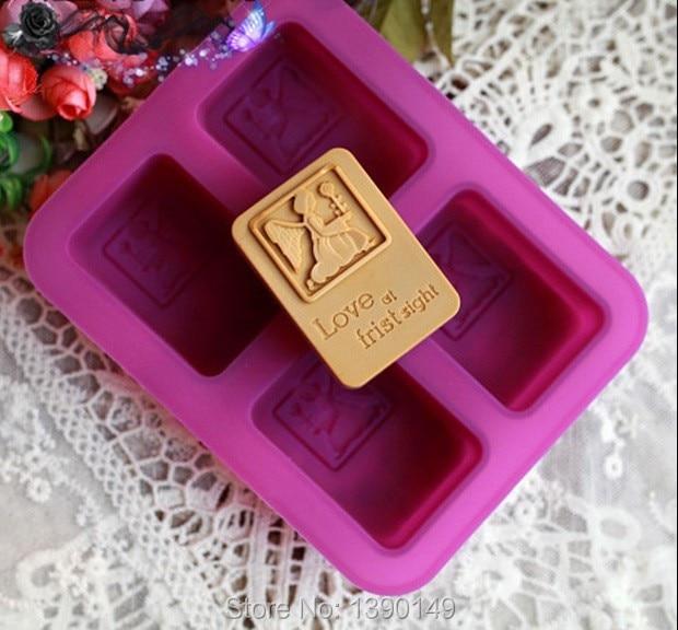 1 pieza de molde de silicona artesanal 3D hecho a mano con 4 agujeros cuadrados amor a primera vista molde de silicona forma de jabón antiadherente flor angular