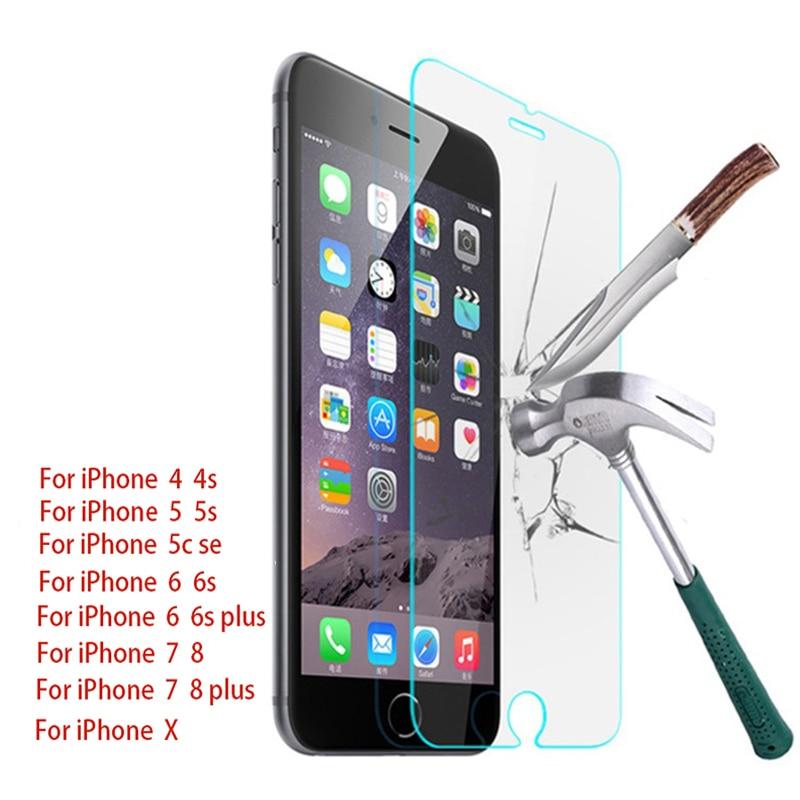 Coque en verre trempé 9H pour iPhone, Film de protection HD pour modèles X, 4, 4s, 5, 5s, 5c, SE, 6, 6s, 7, 8 Plus