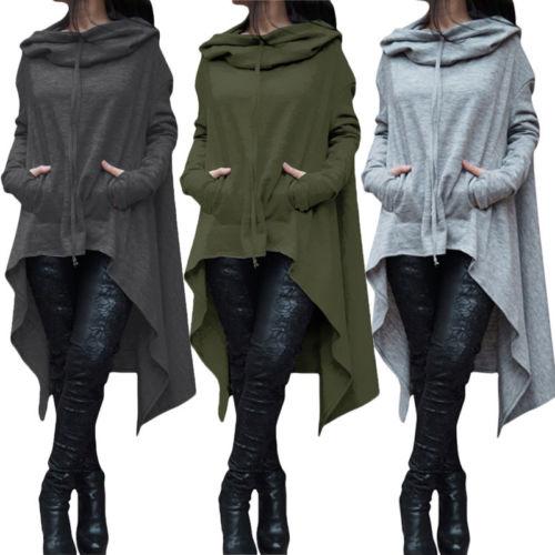 Sudadera con capucha de manga larga para mujer, capa Irregular suelto, Jersey, Tops, abrigo tipo Jersey informal