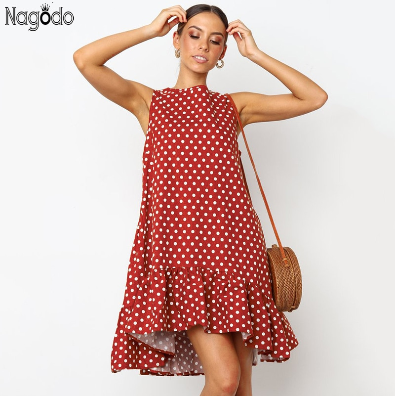 Nagodo robe à pois femmes 2019 été Vintage robes col rond a-ligne volants ample sans manches robe Vestidos Mujer Jurken