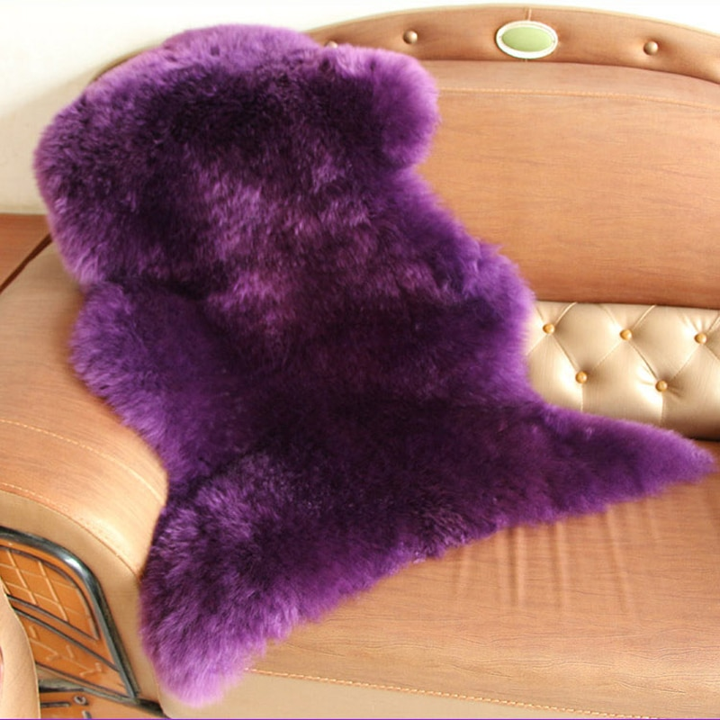 Lila Echt Schaffell Teppich Pelz Decke Schafe Pelz Teppich Werfen Schlafzimmer Decken Sofa Kissen Bereich Teppiche und Teppiche Für Wohnzimmer zimmer