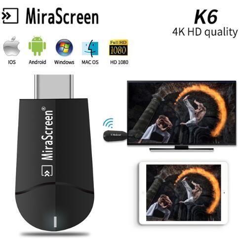 Mirascreen K6 TV Stick Dongle doble banda 2,4 GHz 5,8 GHz HD 4K WiFi Miracast Airplay DLNA TV Stick 4K HD EZCast de pantalla WiFi Dongle