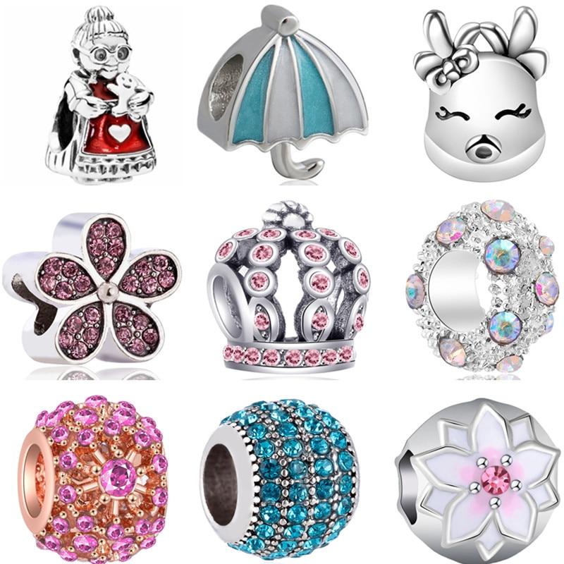 AliExpress - Vintage Alloy Crown Butterfly Grandma Umbrella Teapot Flowers Stars DIY Beads Charms Fit Original Pandora Bracelets for Women