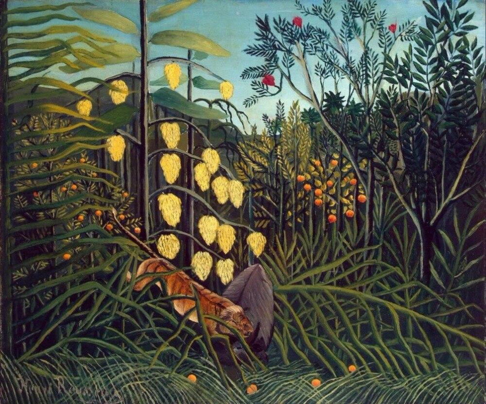 Lienzo de pintura al óleo de alta calidad reproducciones de lucha contra Tigre y búfalo (1908) de pintura de Henri Rousseau pintada a mano