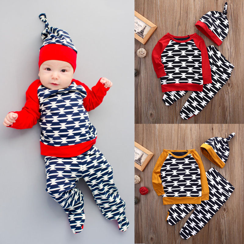 Newborn Baby Toddler Sets Casual Outfit Clothes O-Neck Long-sleeved Tops+ Pants+Hats 3Pcs Set  Baby Clothes For Boys And Girls 5pcs set newborn infant baby suits boys girls kids clothes sets tops pants bibs hats girl clothing set for baby girls outfit