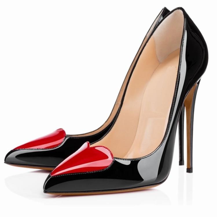 Zapatos de diseñador de mujer de tacón alto de retazos de cuero de patente de boda zapatos de novia stiletto puntiagudos sexy calzado de oficina escarpin