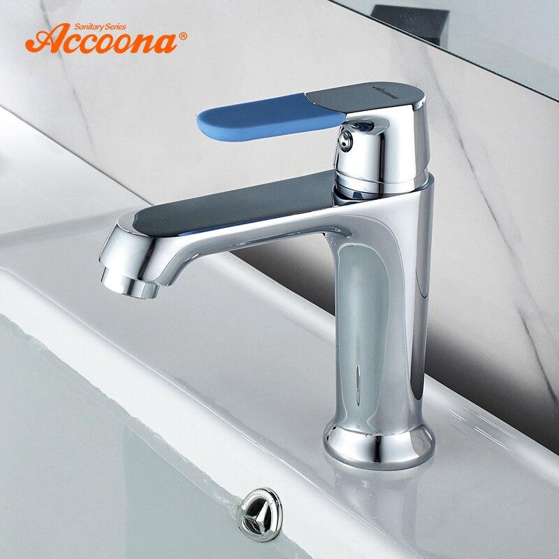 Accoona واحدة ليفر الحمام صنبور الكروم مصقول الصلبة خلاط نحاسي للحوض مياه الحنفية صنبور حوض خلاط s الأساسية حوض الحنفيات A9019