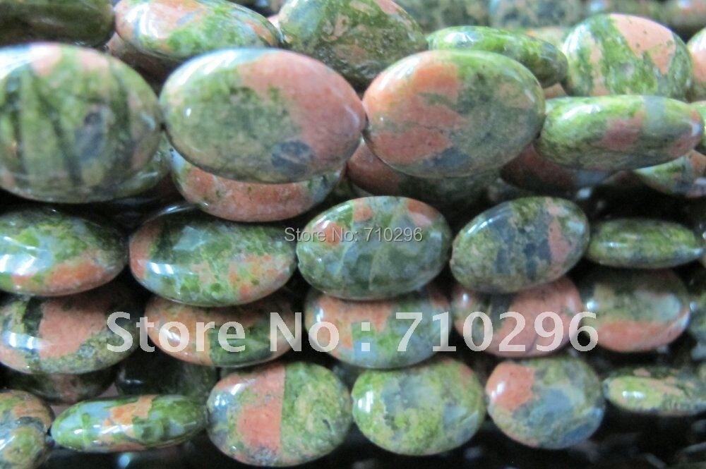 """5 cuerdas/lote de cuentas de piedra unakita 13x18mm cuentas de piedra ovaladas gema Natural cuentas sueltas, 15 """"/cadena"""