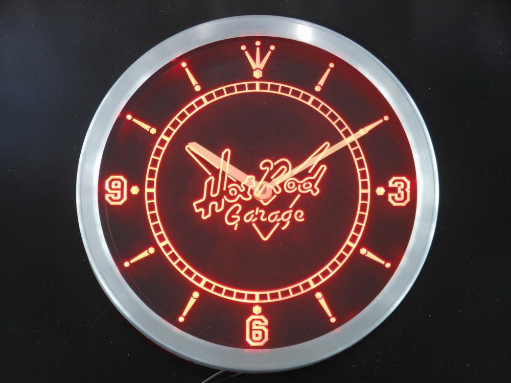 nc0128 Hot Rod Garage Car Beer Bar Neon Light Signs LED Wall Clock