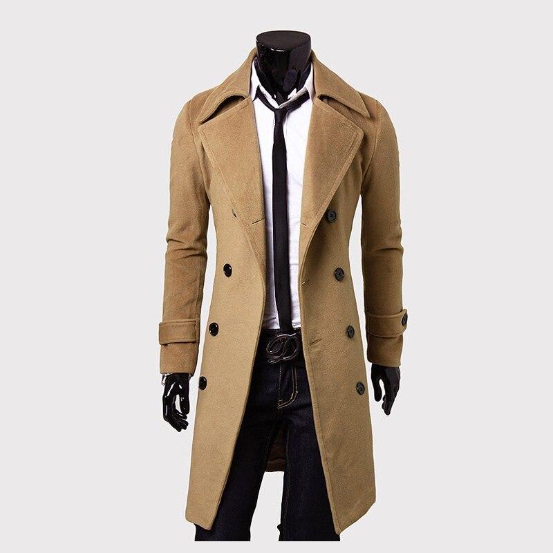Gabardina para hombre, nueva moda 2018, abrigo largo de diseñador para hombre, abrigo de gabardina ceñida a prueba de viento de otoño e invierno con doble botonadura para hombre