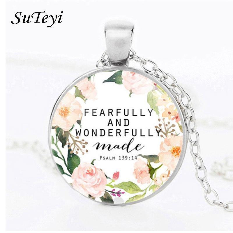 Suteyi, collar retro con una criatura, frase maravillosa, verso collar con diseño de arte, colgante de cristal, collar para mujeres, hombres, regalo