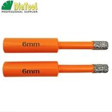 DIATOOL 2pcs 6mm Vacuum Brazed Diamond Core Bits With Round Shank, Dry Drilling Bits, Professional Quality