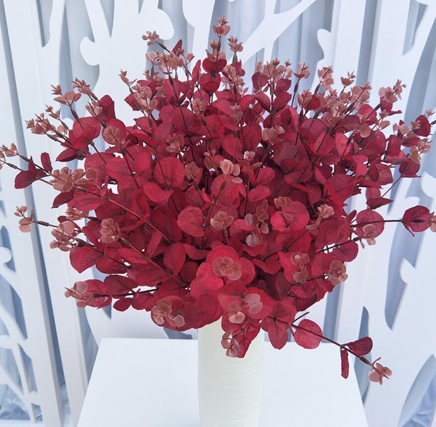 5 piezas Artificial eucalipto robusta rama pared boda paisaje arco techo casa...