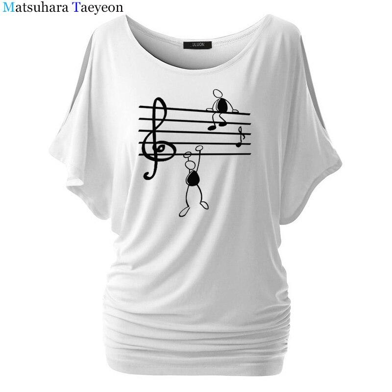 Nota musical divertida camiseta para mujer impresa Animal de verano de manga corta Camisetas Harajuku camiseta chica Casual Tops camiseta marca