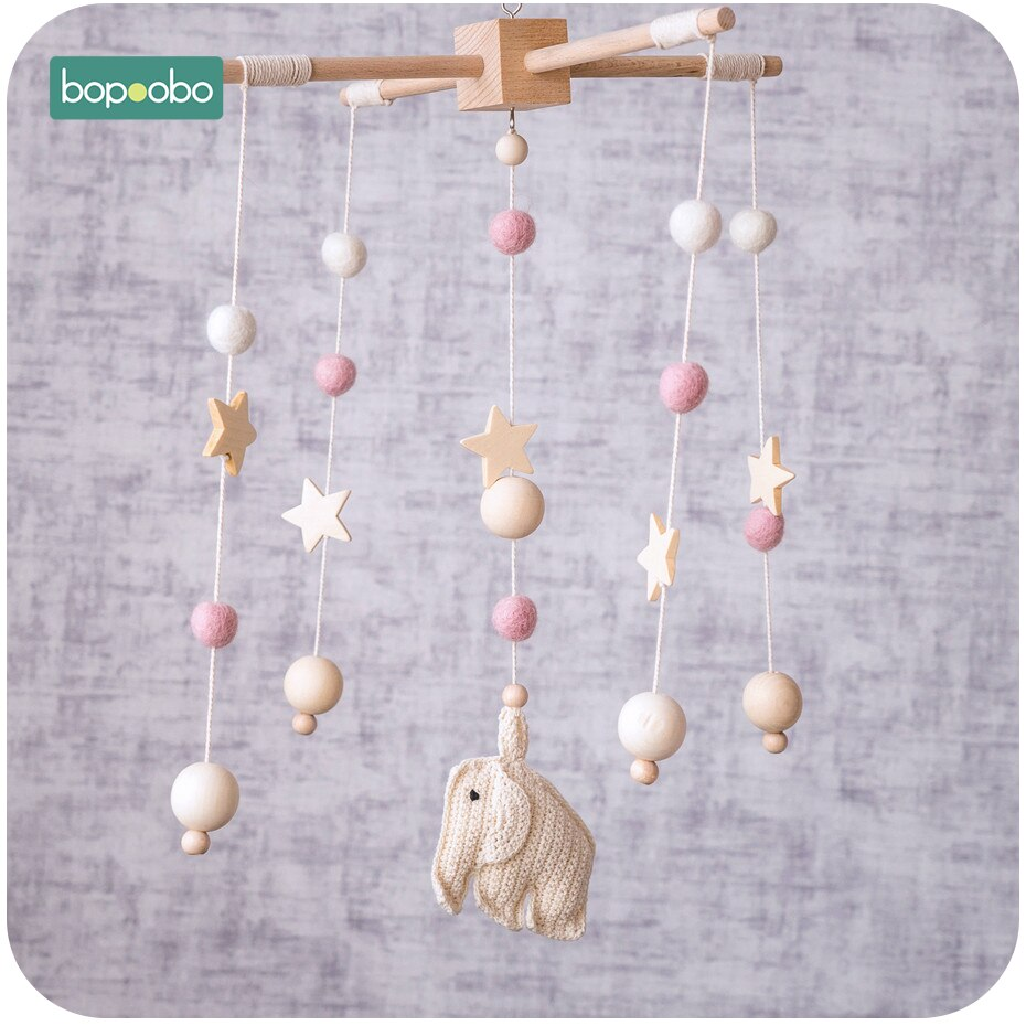 Bopoobo 1 set Baby Crib Mobile Beech Wood Elephant Rattles Wool Balls Kid Room Bed Hanging Decoration Nursing Children Products
