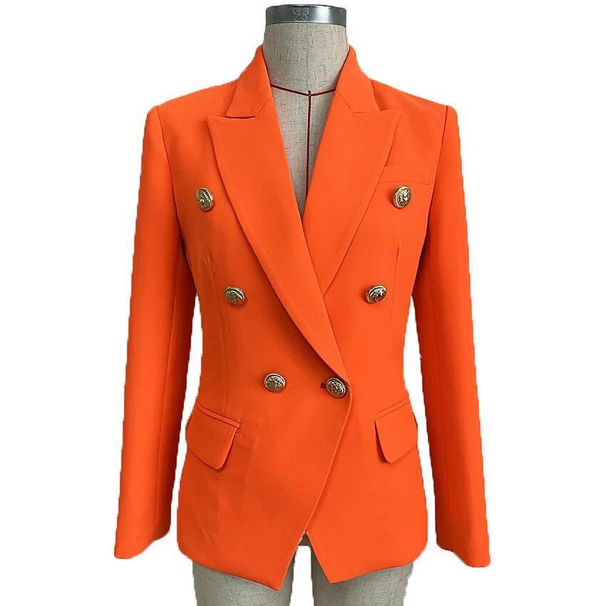 جاكيت بليزر نسائي برتقالي نيون ، جاكيت مزدوج الصدر بأزرار أسد ، تصميم باروك ، 2021