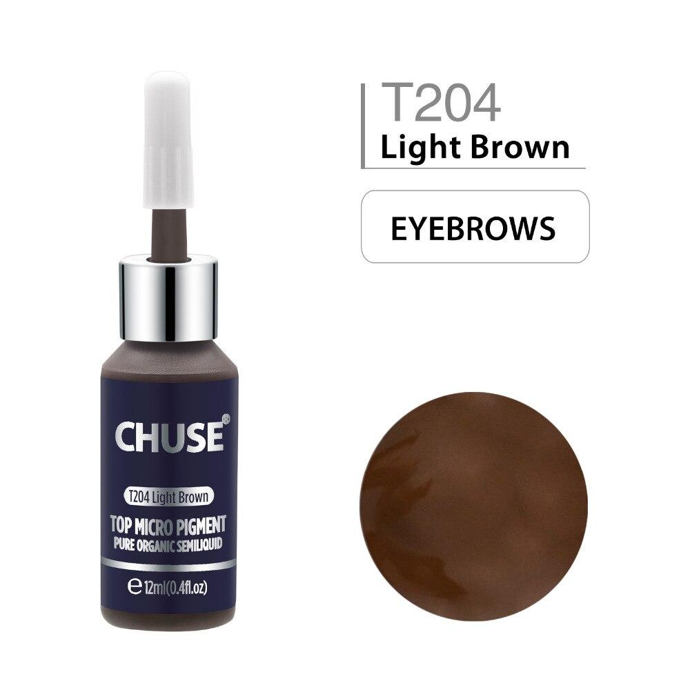 CHUSE tinte de maquillaje permanente T204 marrón claro, delineador de ojos, tinta de tatuaje, conjunto de pigmento Microblading para cejas profesional, 12ML, 0,4 oz