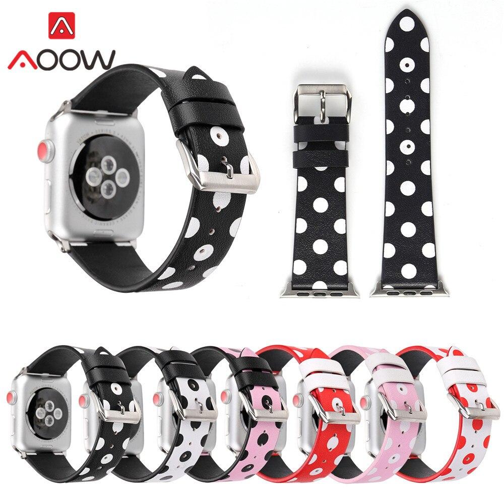 Pulseira de couro para apple watch 40mm 44mm 38mm 42mm bolinhas vintage branco preto vermelho pulseira faixa para iwatch 1 2 3 4