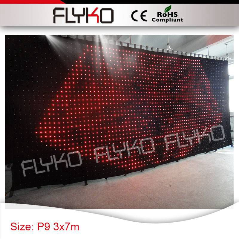 Fabricante flexible led cortina decoración Pantalla de visión vívida 3x7 m P9cm