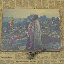 Woodstock-affiches rock rétro pour Festival de musique   Papier kraft, autocollants de personnalité, décoration pour salle