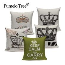 Housse de coussin en coton mélangé noir blanc vert   Taie doreiller décorative rétro pour la maison, motif roi reine, taie doreiller