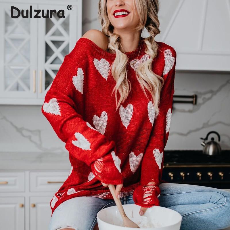 Женский вязаный свитер с красным сердечком, Тонкий Повседневный Свитер оверсайз на весну и осень