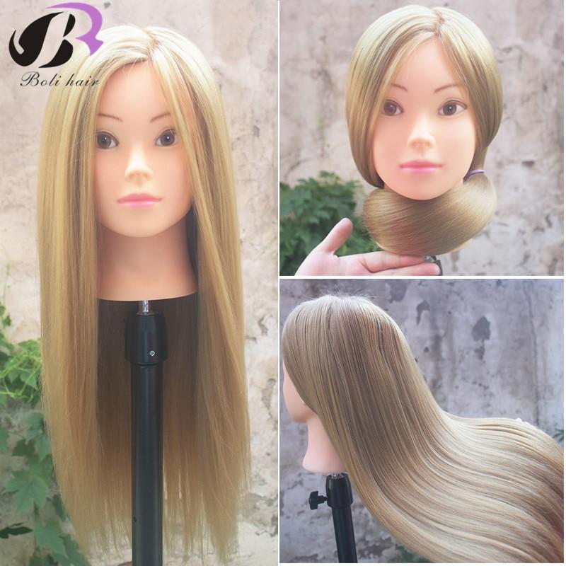 Bolihair 26rubia profesional estilo cabeza de la peluca soporte de la cabeza mujeres maquillaje peluquería muñeca maniquí de entrenamiento cabeza
