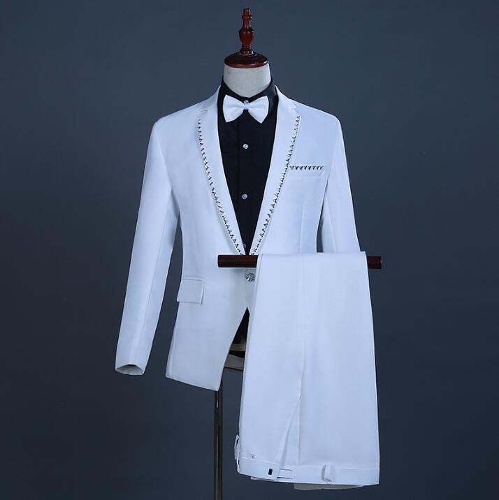 2020 moda blanco de los hombres trajes delgados de negocios de los hombres ropa casual piezas traje abrigos chaqueta conjuntos