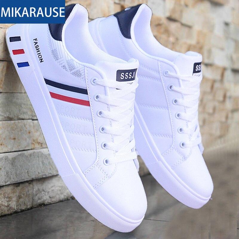 Mikarause zapatos casuales blancos zapatillas de cuero para hombre zapatillas de deporte cómodas para correr zapatillas de hombre Tenis mocassin zapatos transpirables de moda