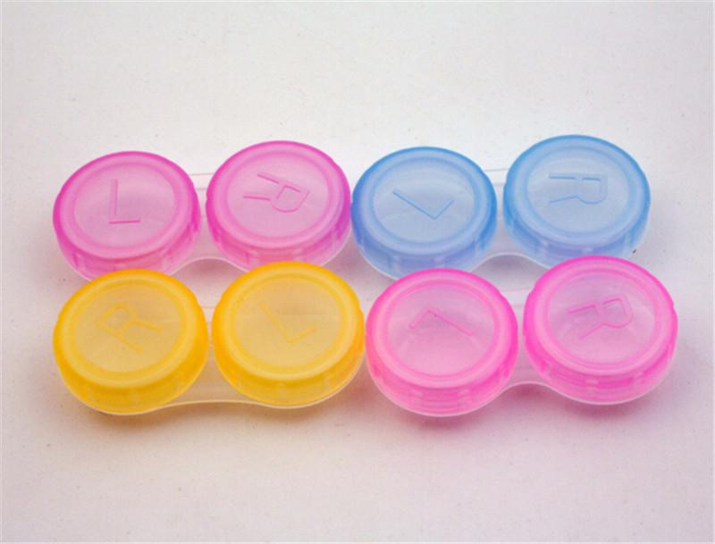 Color plástico aleatorio lente de contacto caja titular portátil pequeño y encantador Color caramelo gafas bolsa contenedor lentes de contacto baño Stora