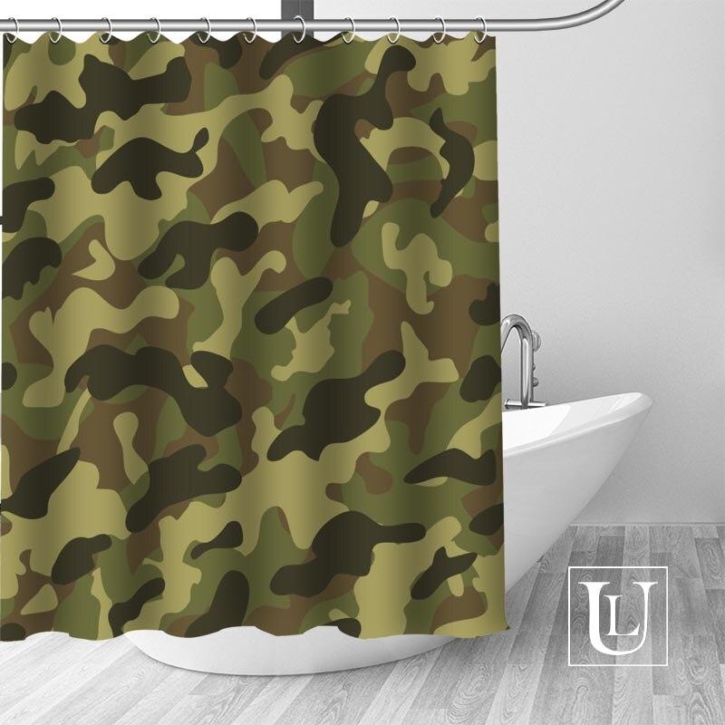 Cortinas de ducha Woodland Camo Funky, cortina de baño personalizada, tela impermeable para baño, cortina de ducha de poliéster, 1 uds, personalizada