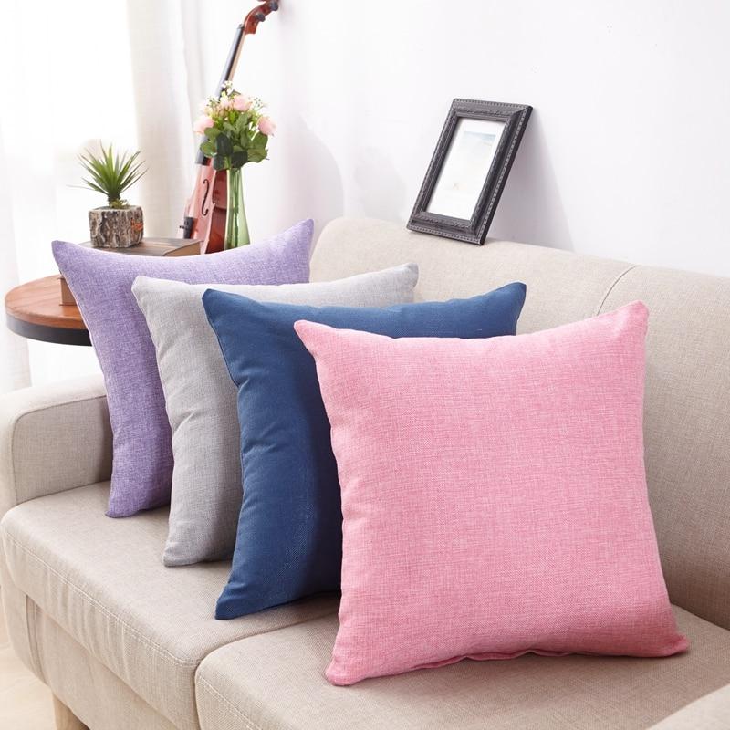 Almohadas decorativas de lino y algodón de estilo Simple, fundas de cojín para cintura para sofá, Fundas de cojín modernas para decoración del hogar de 50x50cm para sofá
