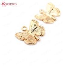 (33558) 10 pièces 11*10MM 24K Couleur Or En Laiton Papillon Charmes Pendentifs Haute Qualité bijoux à bricoler soi-même Résultats Accessoires en gros