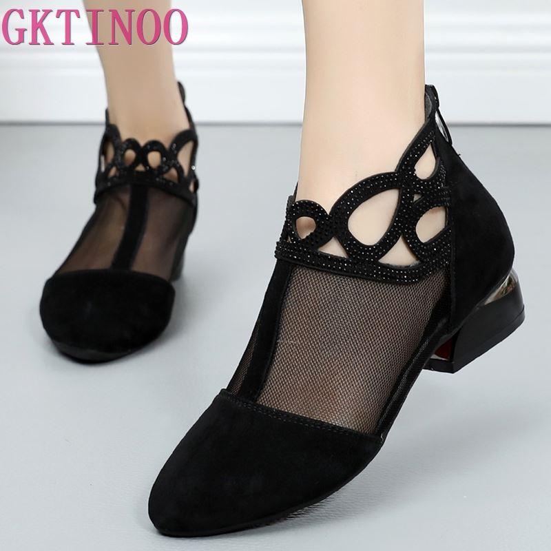 GKTINOO 2021 الربيع الصيف أحذية النساء مريحة الصنادل شبكة الصنادل الجلدية حقيقية حذاء من الجلد حجم كبير صندل نسائي الصيف