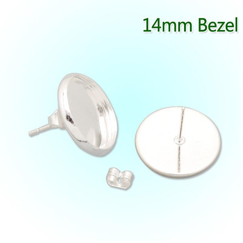 Venta al por mayor 14 MM Chapado en plata pendientes de latón en blanco pendiente Bezels Base ajuste para joyería DIY-C2539
