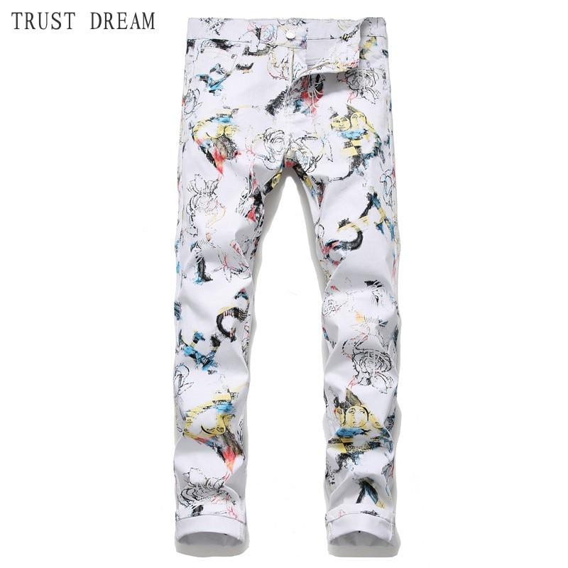 Мужские облегающие джинсы, белые повседневные стильные джинсы с цветочным принтом и 3D принтом в Европейском стиле, 2019