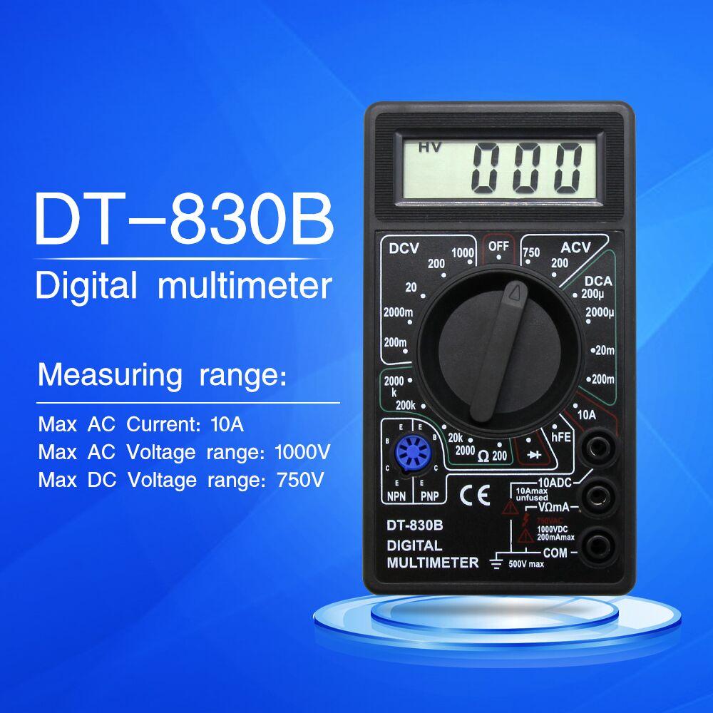 DT-830B Цифровой мультиметр профессиональный электронный тестер 0,5 дюймов ЖК-дисплей AC/DC 750/1000 в Ампер Вольт Ом тестер