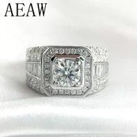 luxurious pave moissanite ring 14k white gold 2ctw round cut brillant lab diamond band for mens wedding mens jewelry