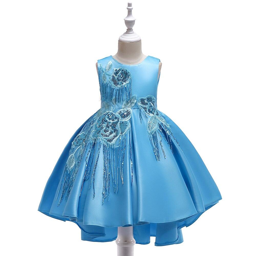 Vestido de Flores de verão Para Meninas Miúdos Roupas Frisado Bordado Arrastando vestido de Casamento Vestidos de Meninas Para A Festa de Crianças Custumes