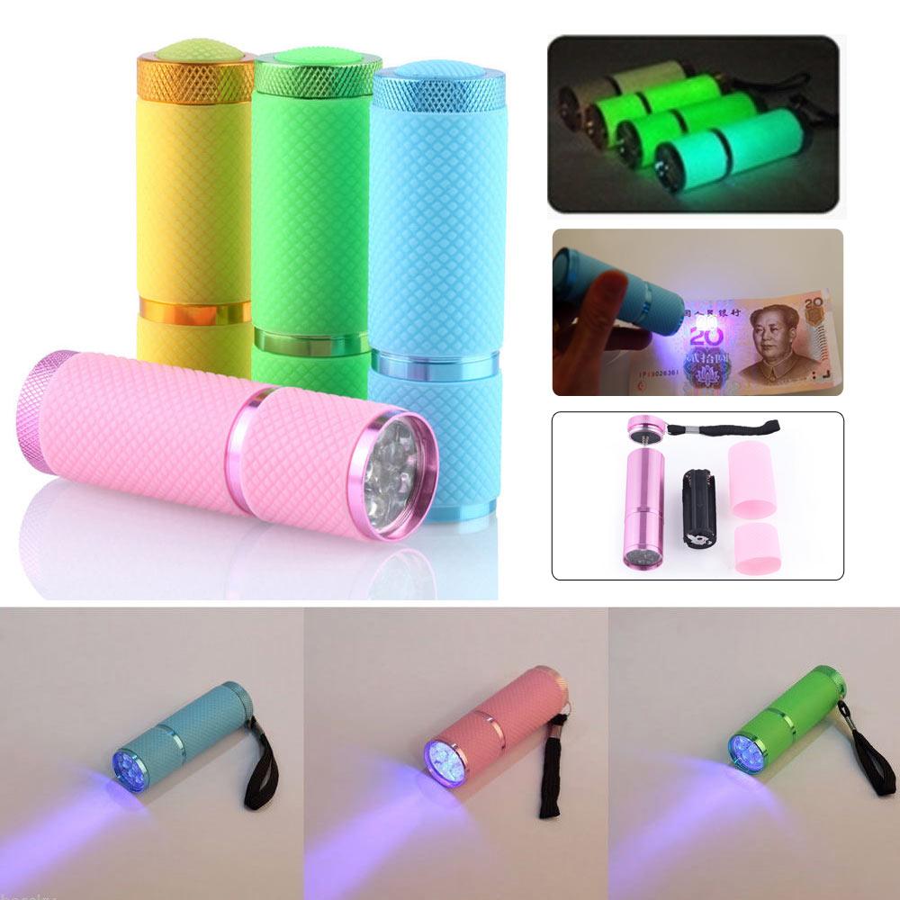 1 шт. 395 нм УФ 9 светодиод фонарик портативный гвоздь гель отверждение подсветка фонарик ультра фиолетовый валюта детектор свет фонарь